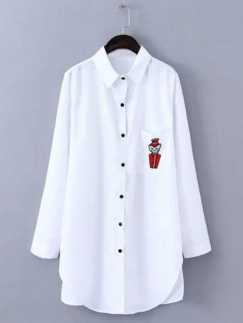 Oversized Cute Cartoon Pattern Single Pocket Shirt - WHITE L