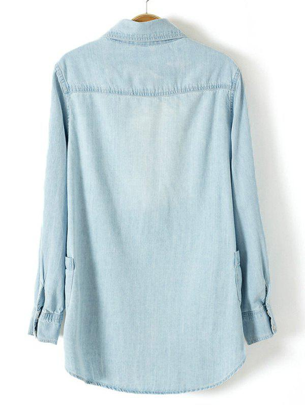 Plus Size Trendy Adjustable Sleeve Longline Chambray Shirt - LIGHT BLUE L