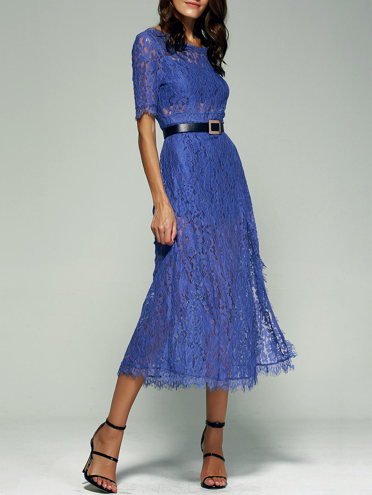 Open Back Furcal 1/2 Sleeve Lace Dress - BLUE XL