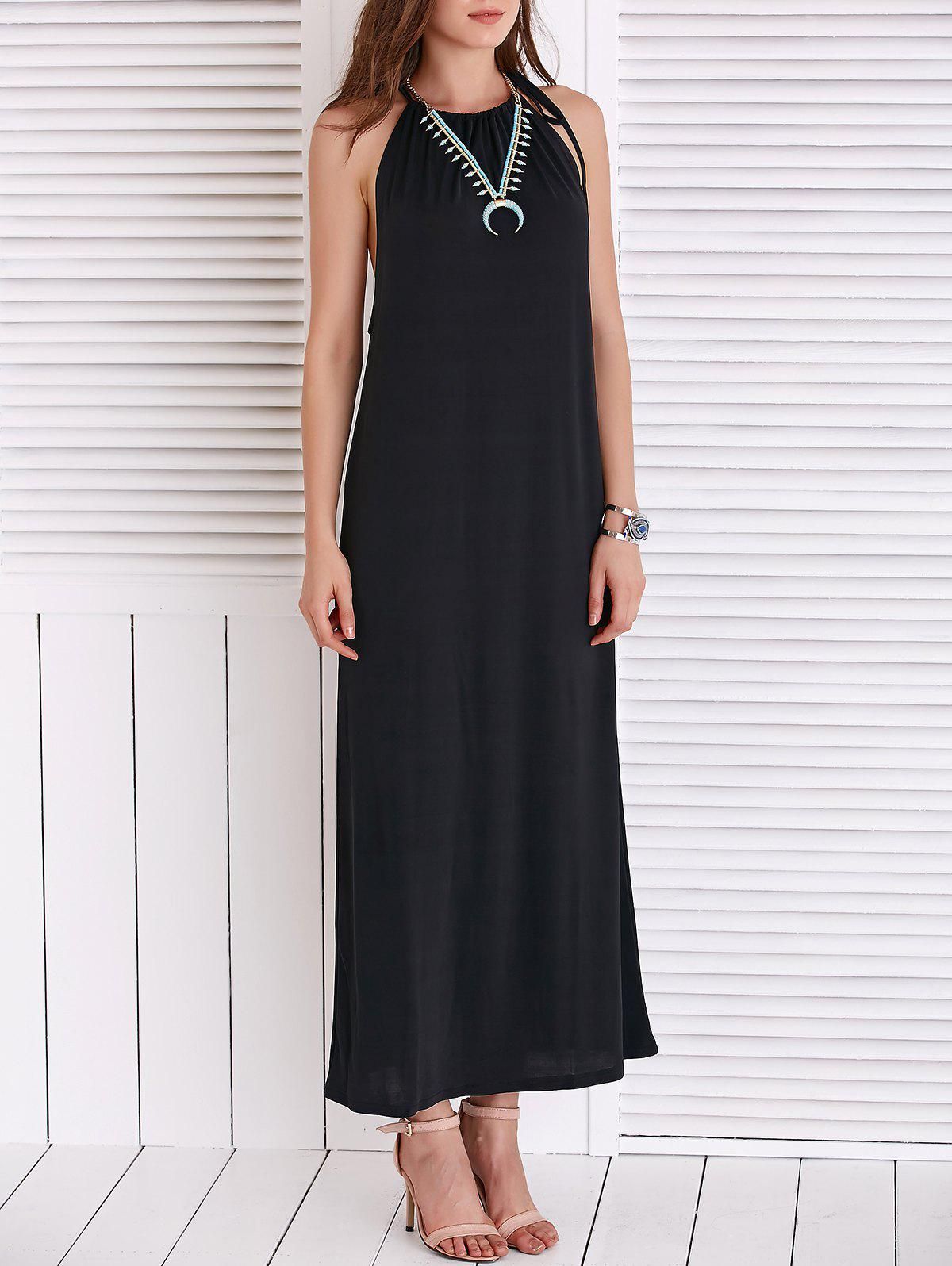 Chic Women's Strappy Loose-Fitting Black Maxi Dress - BLACK L