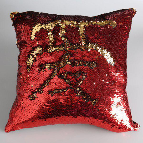 Reversible Sequins DIY Pattern Square Pillow Case - GOLD/RED