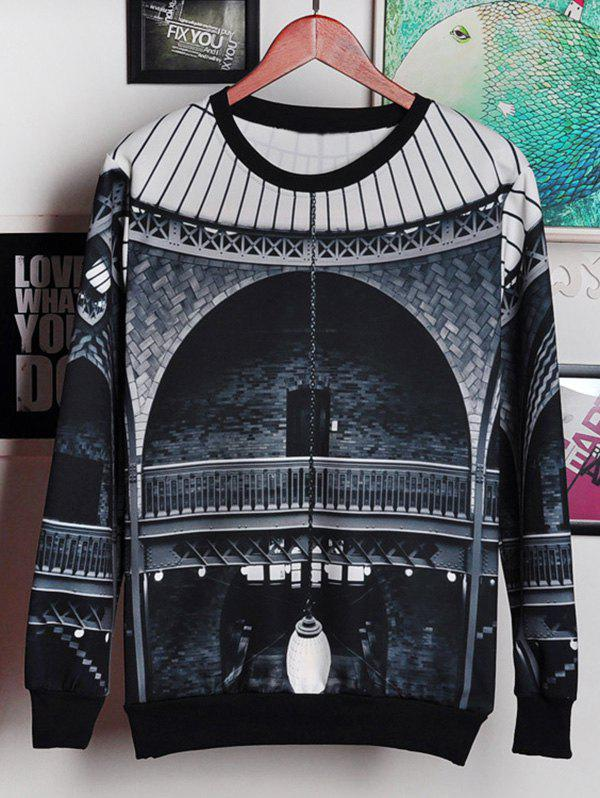 Round Neck Long Sleeve 3D Palace Print Men's Sweatshirt round neck long sleeve 3d coins print sweatshirt