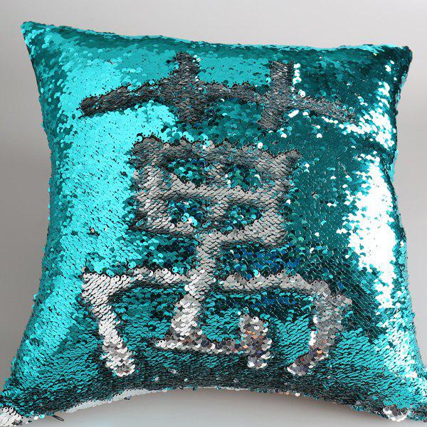DIY Glitter Sequins Decorative Pillow Case - SILVER / GREEN