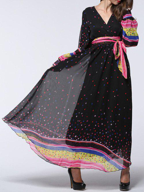 Graceful Polka Dot Puff Sleeves Chiffon Dress For WomenWomen<br><br><br>Size: 2XL<br>Color: BLACK