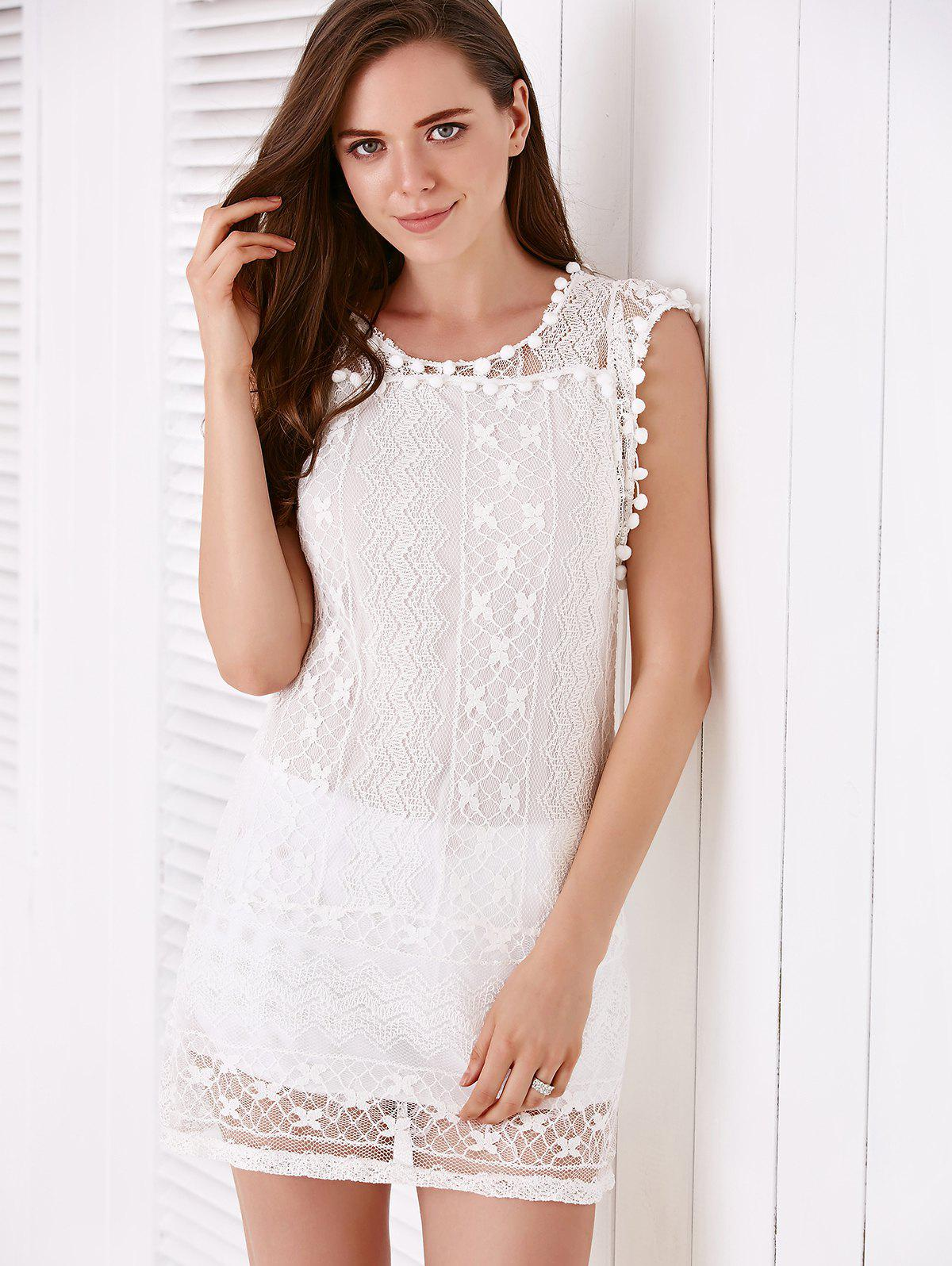 Simple Sleeveless Scoop Collar Solid Color See-Through Women's Dress - WHITE S