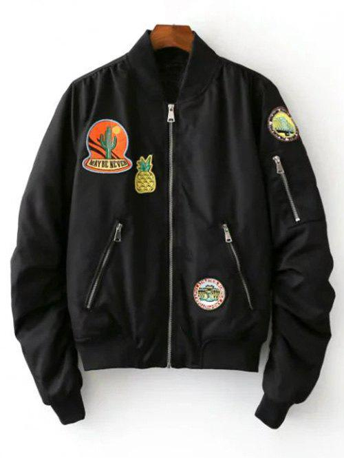Fruits Badge Embellished Bomber Jacket - BLACK L