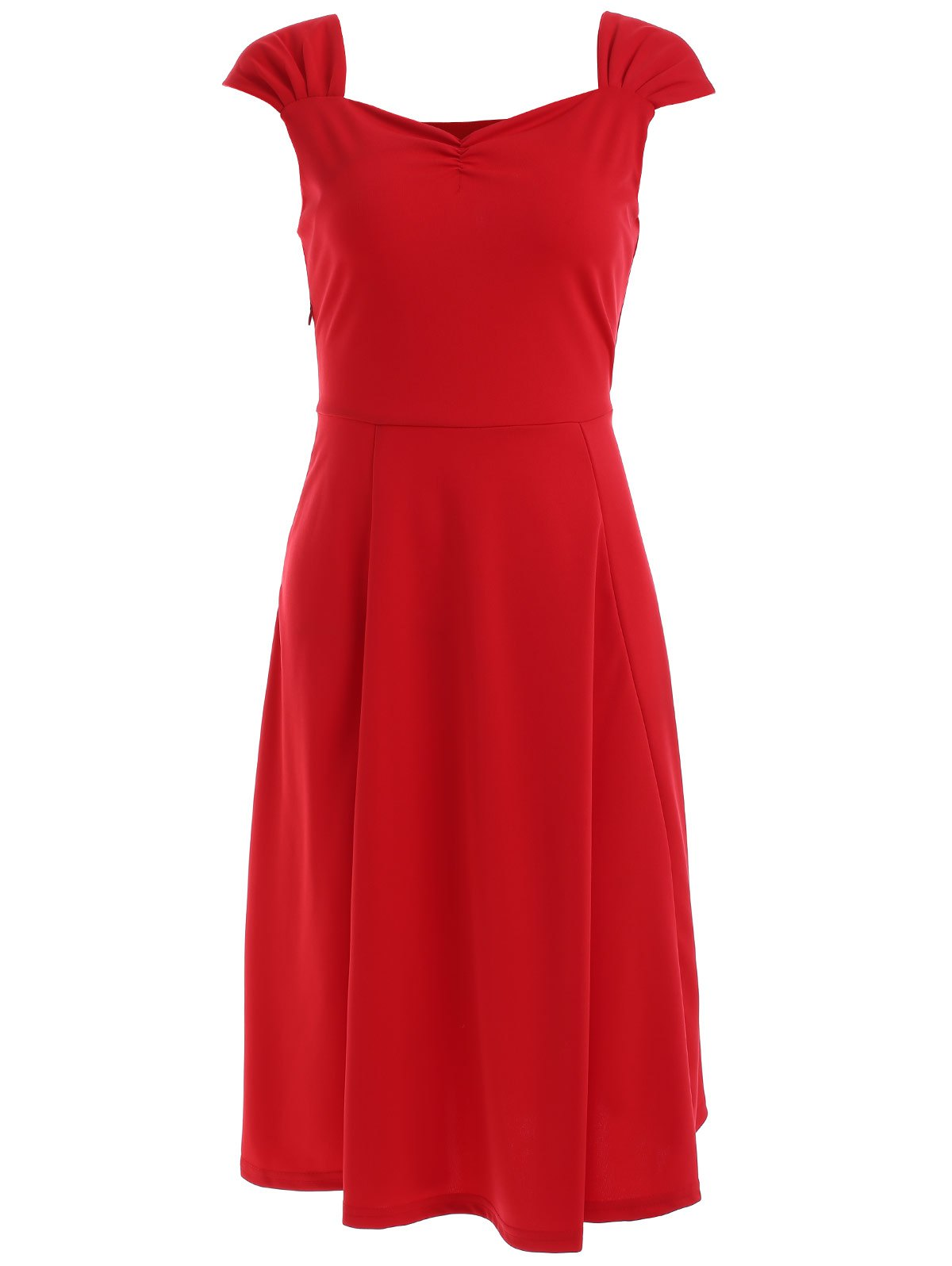 Vintage Sleeveless Solid Color Sweetheart Neck Dress For Women - RED M