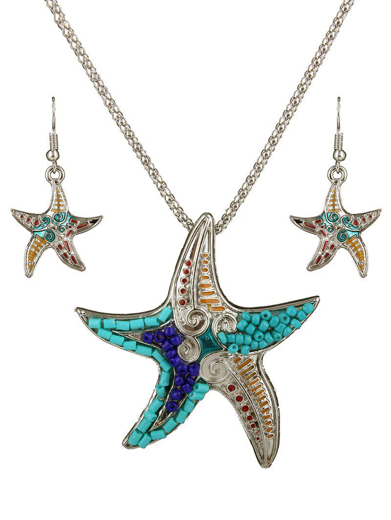 Delicate Turquoise Beads Multicolor Starfish Necklace Set For Women - SILVER