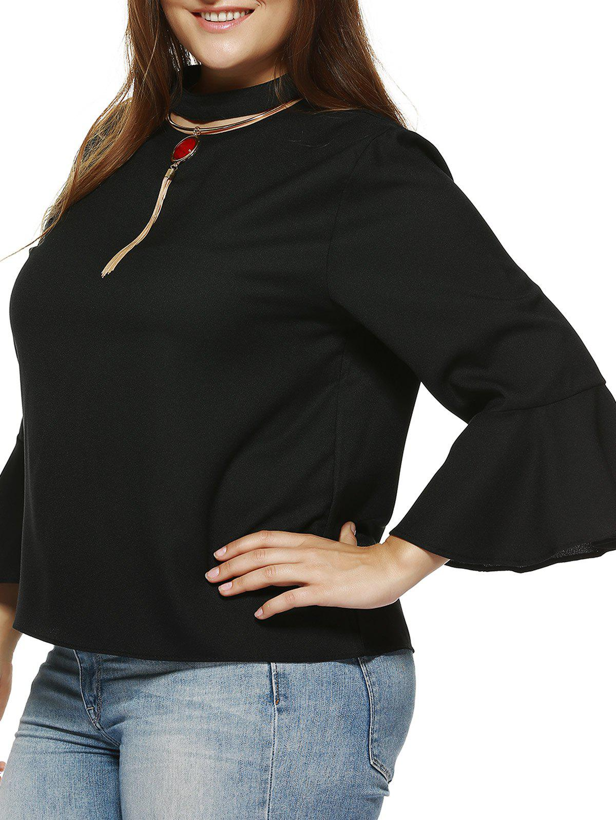 Trendy Solid Color Flare Sleeve Loose Fitting Blouse - BLACK XL