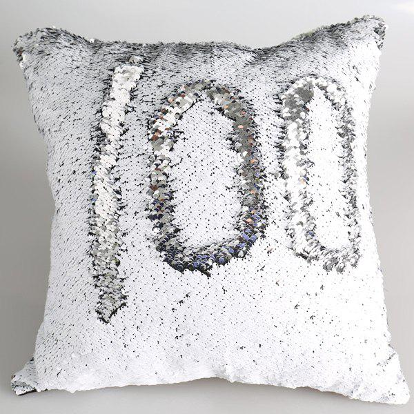 Cute DIY Pattern Silvery White Sequins Sofa Pillow Case