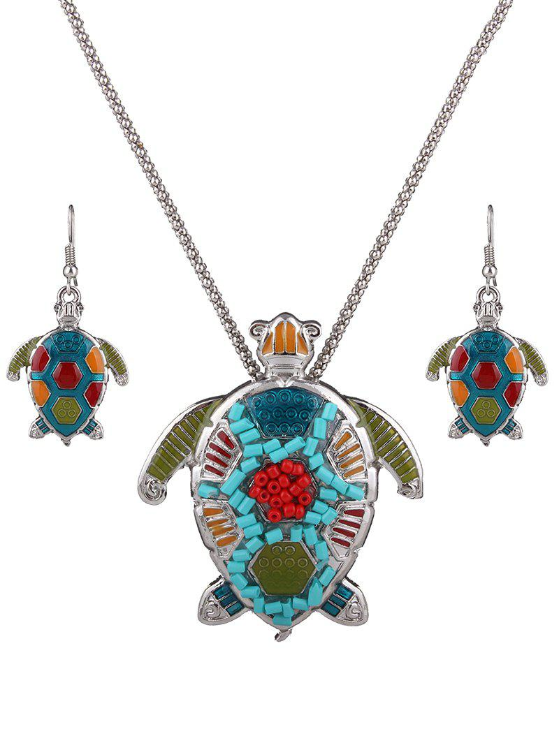 Stylish Multicolor Beads Turtle Necklace Set For Women