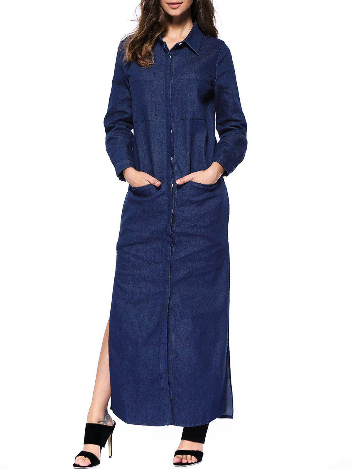 Denim Long Sleeve Shirt Maxi Dress - DEEP BLUE S