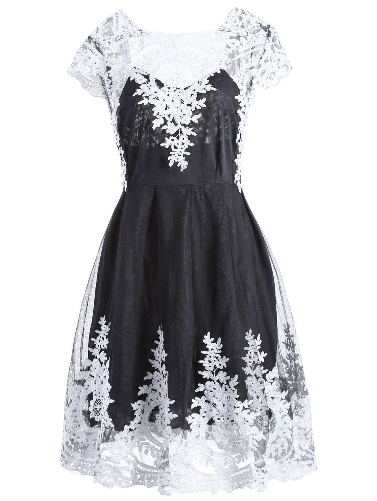Retro Lace Square Neck Short Sleeve Dress For Women - BLACK S