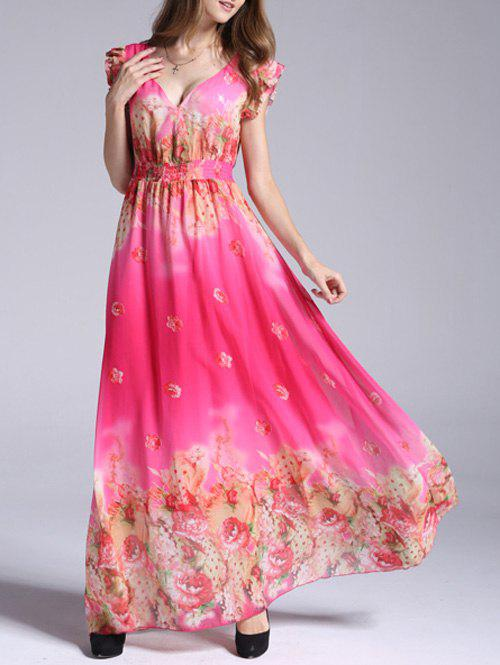 Boho Floral Swing Maxi Chiffon Beachwear Dress - ROSE RED L