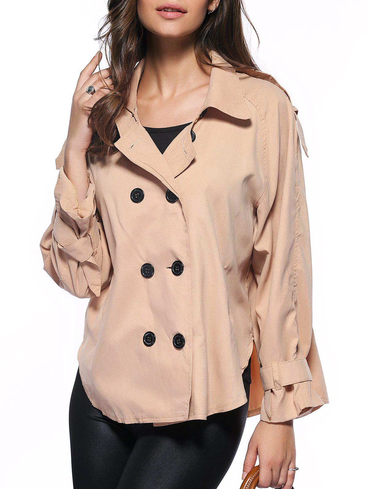 Trendy Pure Color Double-Breasted Loose Trench Coat - KHAKI 2XL