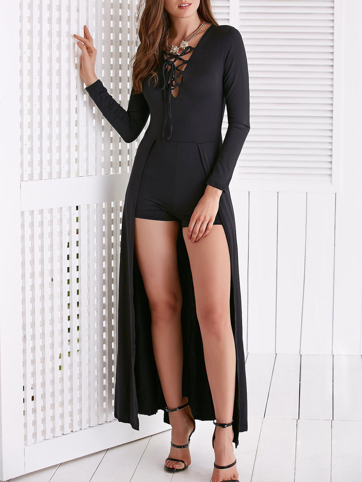 Chic Long Sleeve Criss-Cross Plunging Neck Maxi Dress For Women