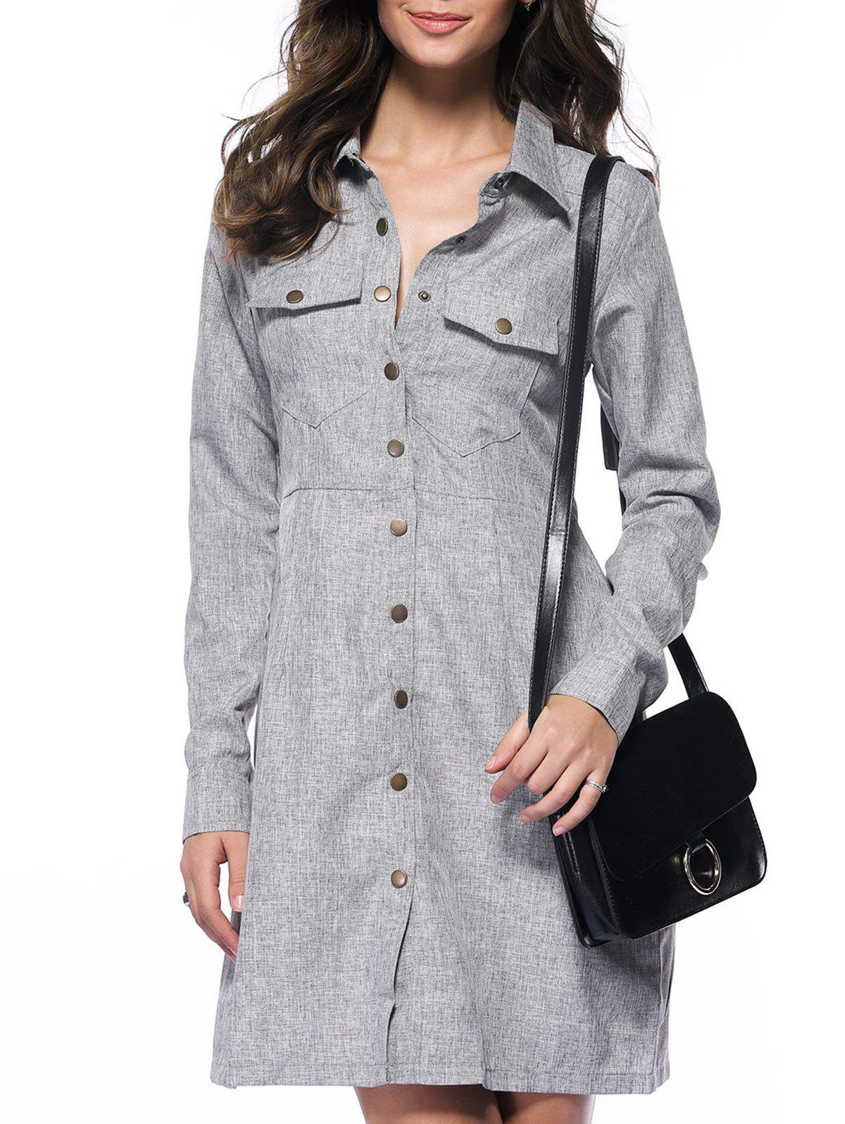 Simple Long Sleeve Marled Pocket Shirt Dress - GRAY 2XL