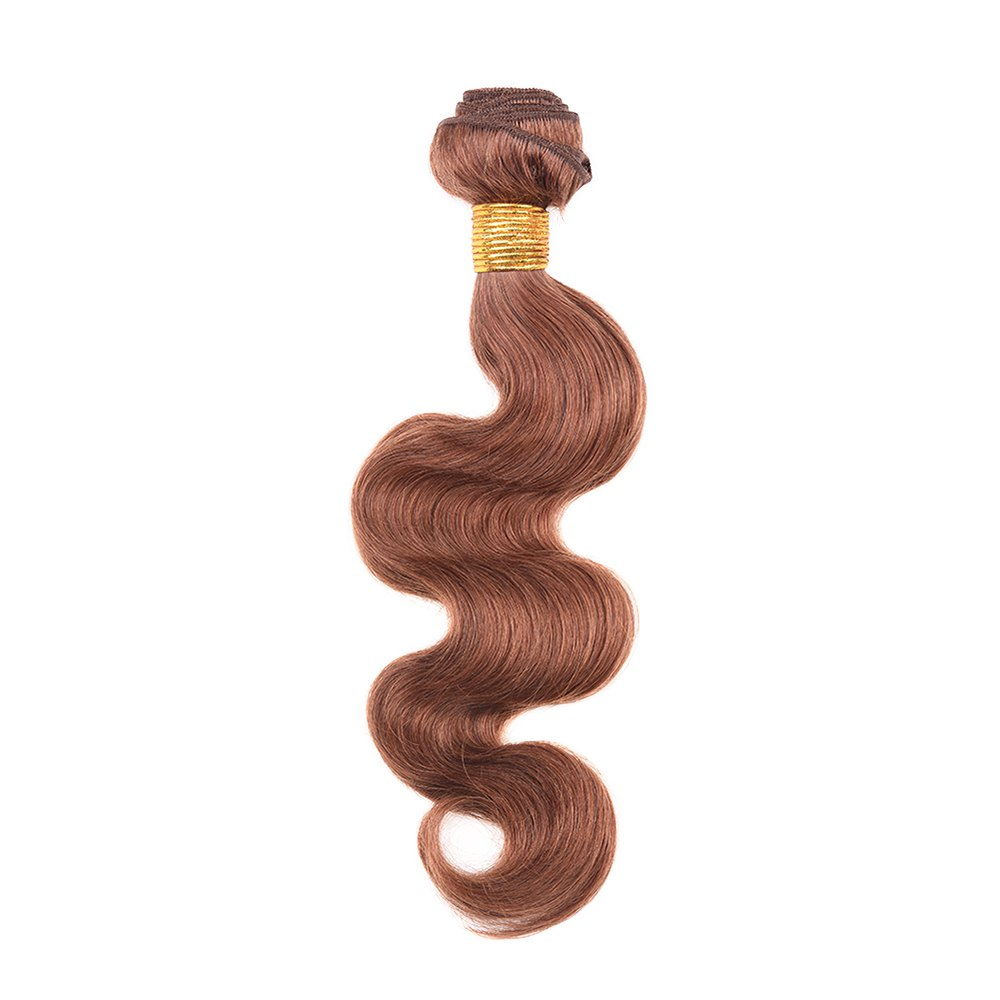 1 Pcs Fashion Auburn Brown Women's 6A Virgin Body Wave Brazilian Hair Weave - AUBURN BROWN 12INCH