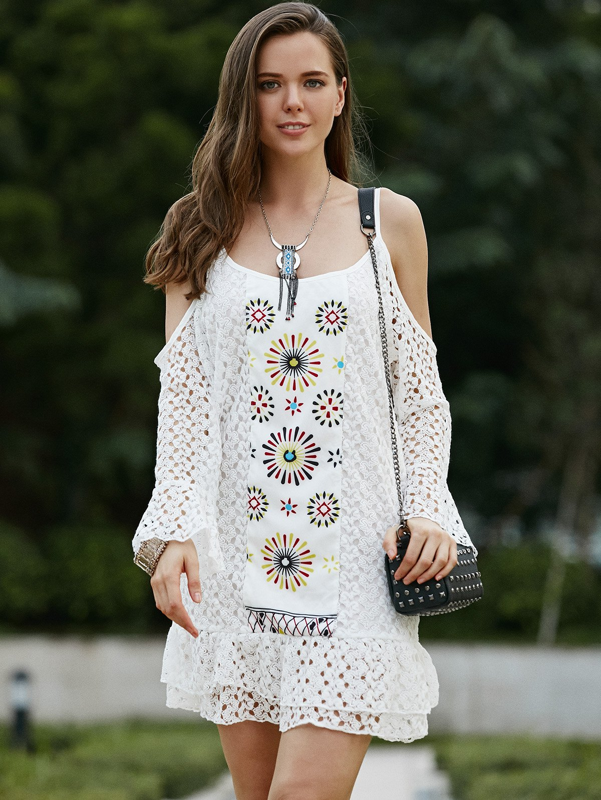 Sweet Spaghetti Strap Long Sleeve Cut Out Lace Dress For Women - WHITE L