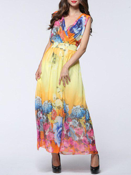 Sweet Women's Floral Print Plunging Neck Chiffon Dress - YELLOW 7XL