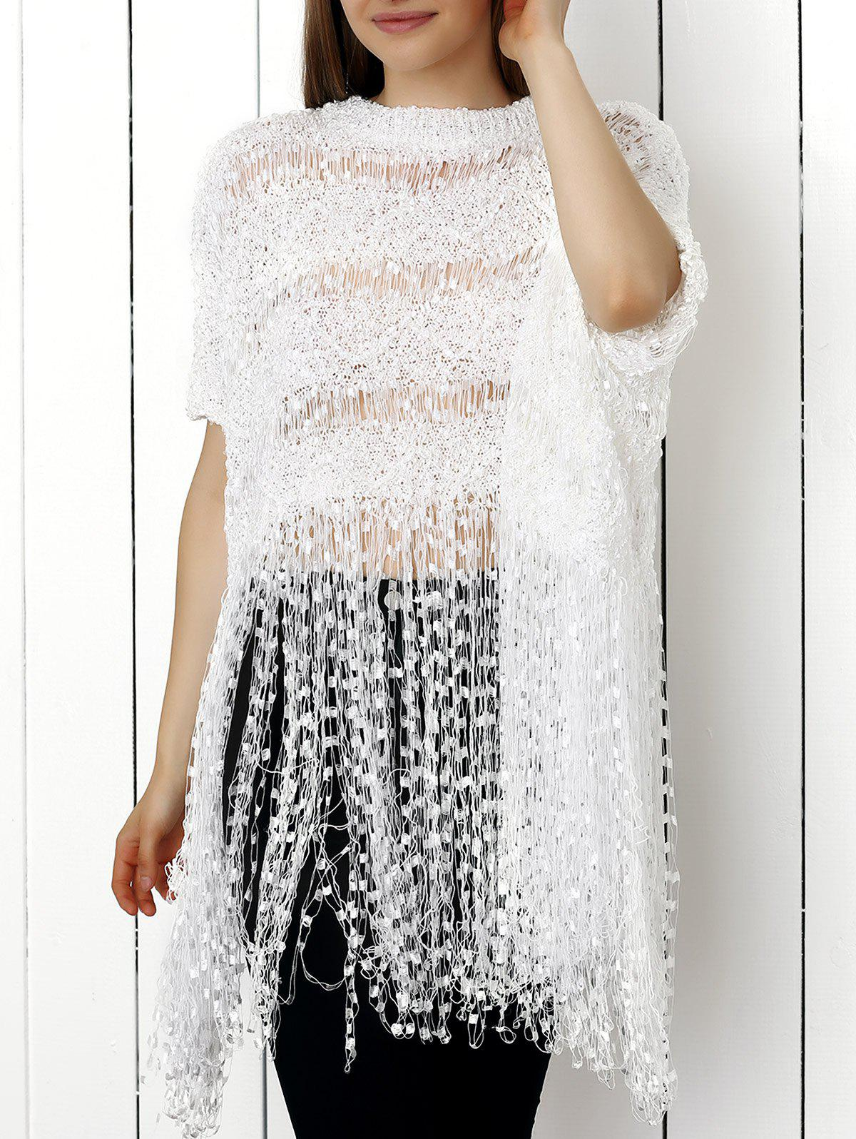Endearing Pure Color Hollow Out Knitted Blouse For Women