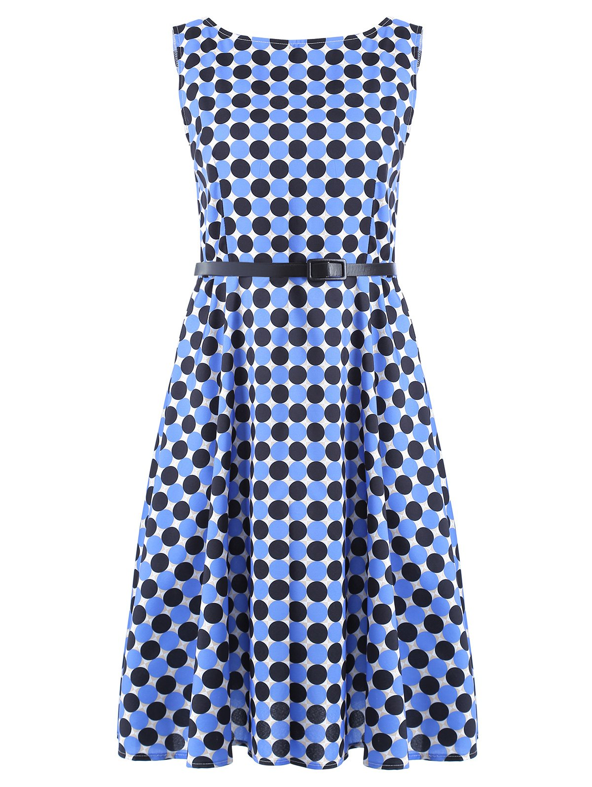 Vintage Women's Round Neck Polka Dot Print Sleeveless Dress - BLUE/BLACK L