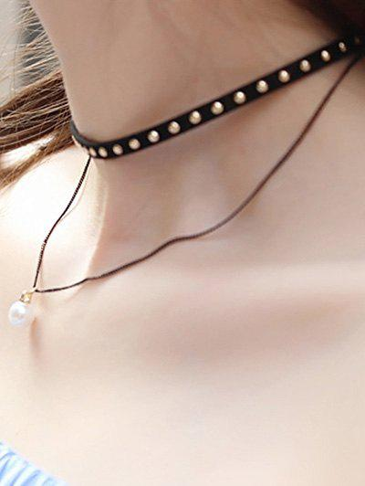 Stylish Black Rivet Layered Faux Pearl Choker Necklace For Women