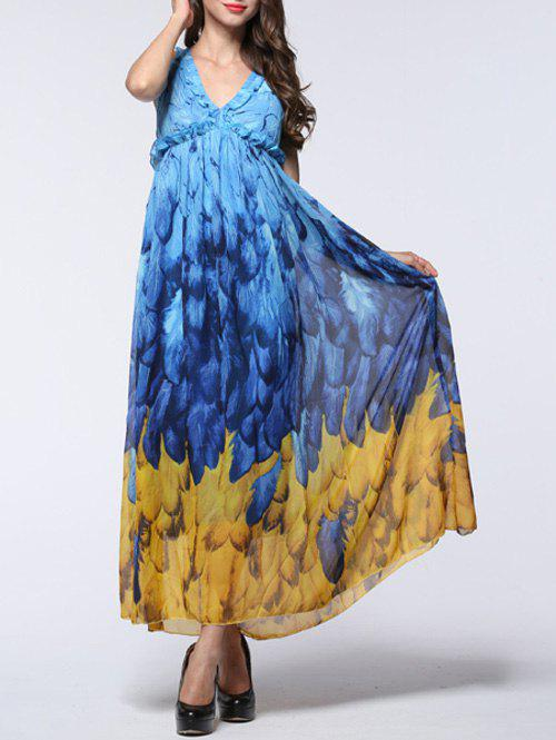 Attractive Women's Feather Pattern Open Back Chiffon Dress - BLUE/YELLOW 7XL