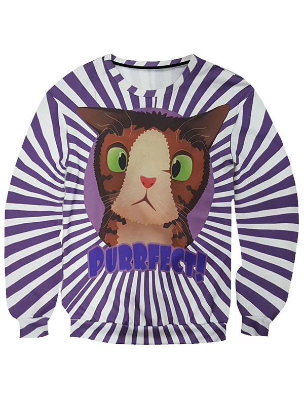 Round Neck Long Sleeve 3D Cartoon Cat and Stripe Print Men's Sweatshirt - COLORMIX 2XL