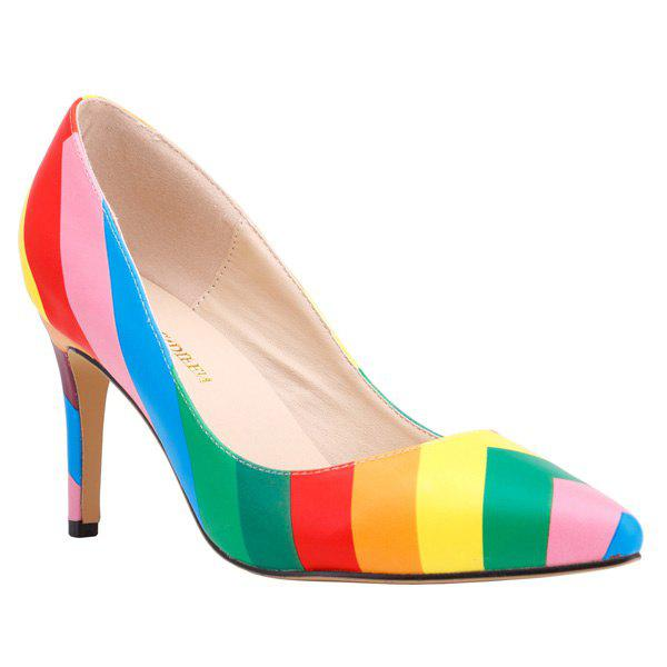 Trendy Stiletto Heel and Rainbow Color Design Women's Pumps - COLORMIX 41