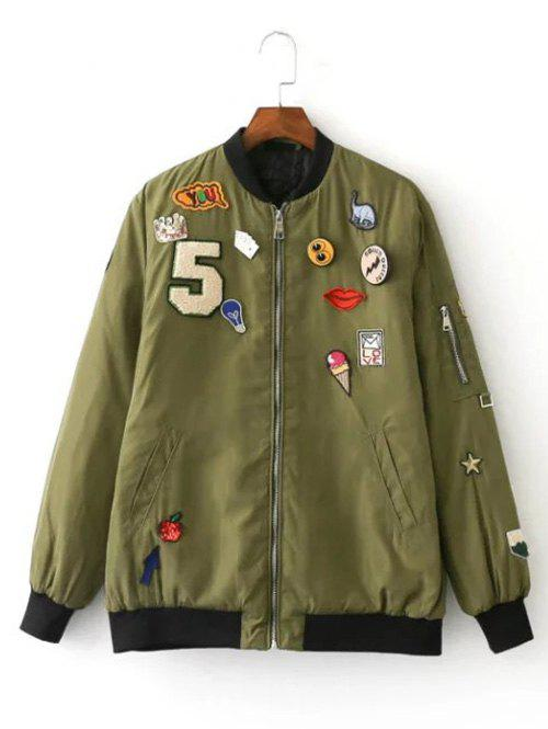 Patch Embellished Bomber Jacket - ARMY GREEN S