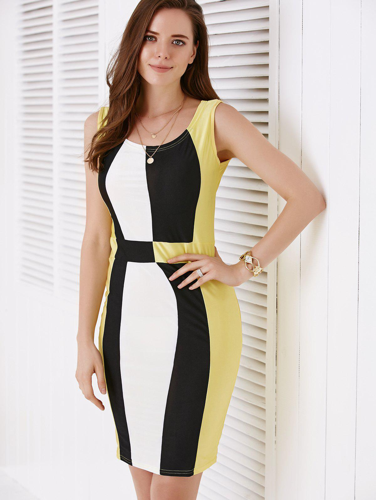Trendy Scoop Neck Sleeveless Color Block Packet Buttock Dress - YELLOW M