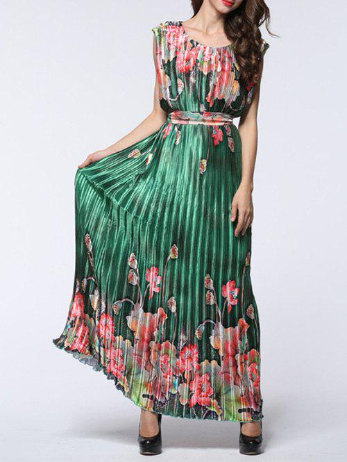 Alluring Women's Floral Print Pleated Maxi Dress
