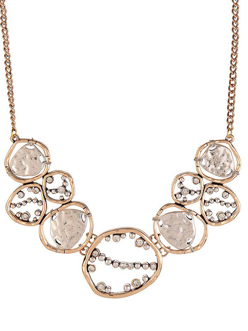 Hammered Geometric Cut Out Necklace - ROSE GOLD