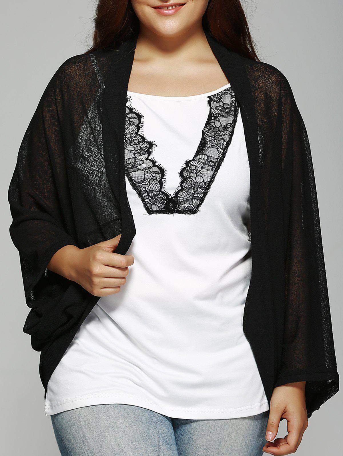 Plus Size Dolman Sleeve Loose Cardigan - BLACK 2XL