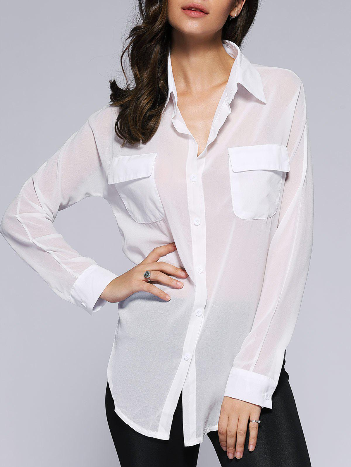 Stylish Semi Sheer Slit Pure Color Pocket Loose Shirt - WHITE XL