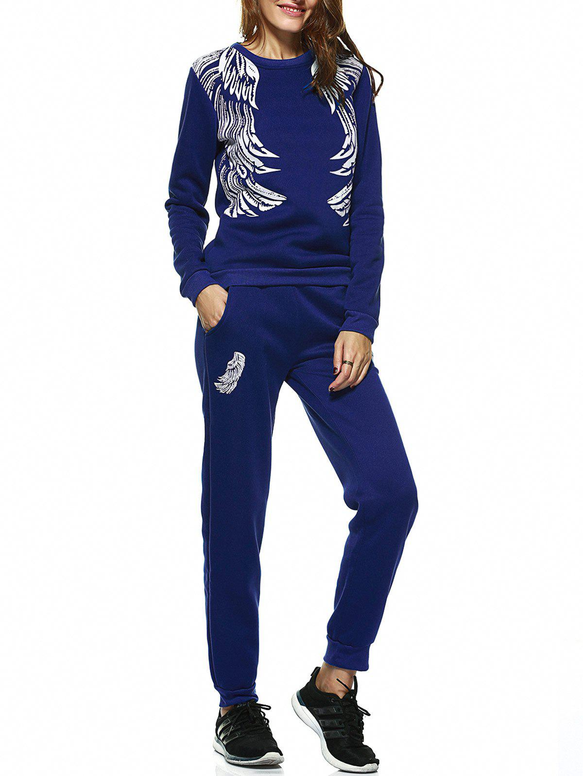 Stylish Long Sleeve Wing Print Sweatshirt + Pants Women's Twinset - SAPPHIRE BLUE XL