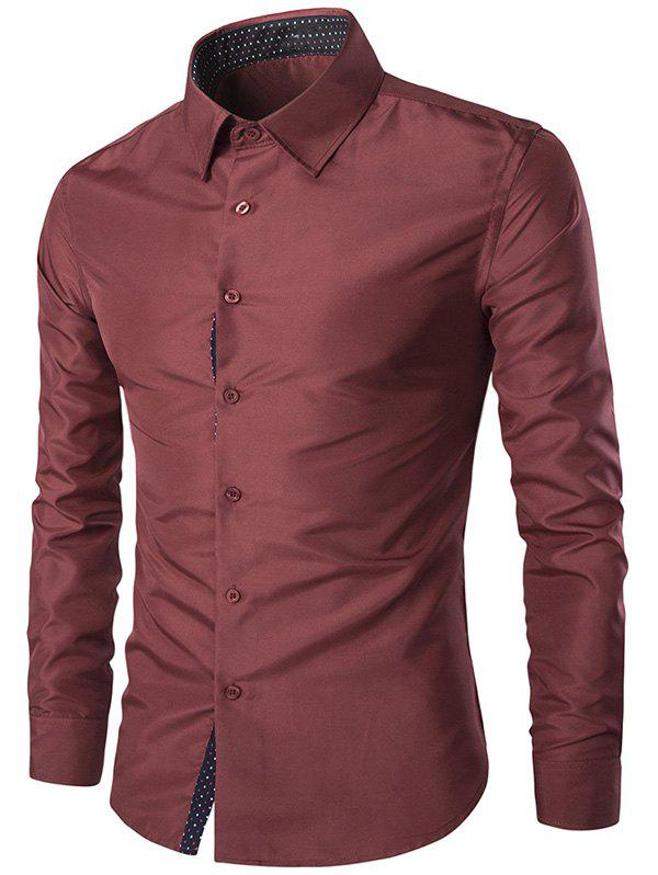 Solid Color Spliced Turn-Down Collar Slim-Fit Long Sleeves Shirt For Men - WINE RED 3XL