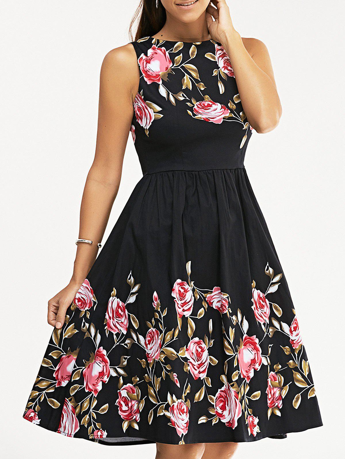 Retro Rose Flower Print Sleeveless Skater Dress - BLACK 2XL