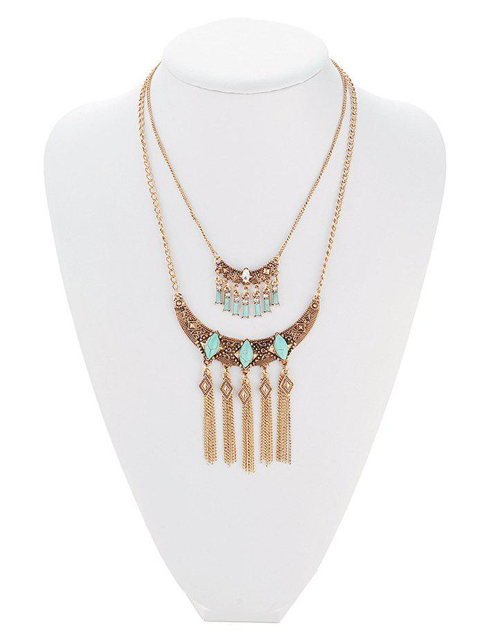 Retro Faux Turquoise Embossed Geometric Fringe Necklace - GOLDEN