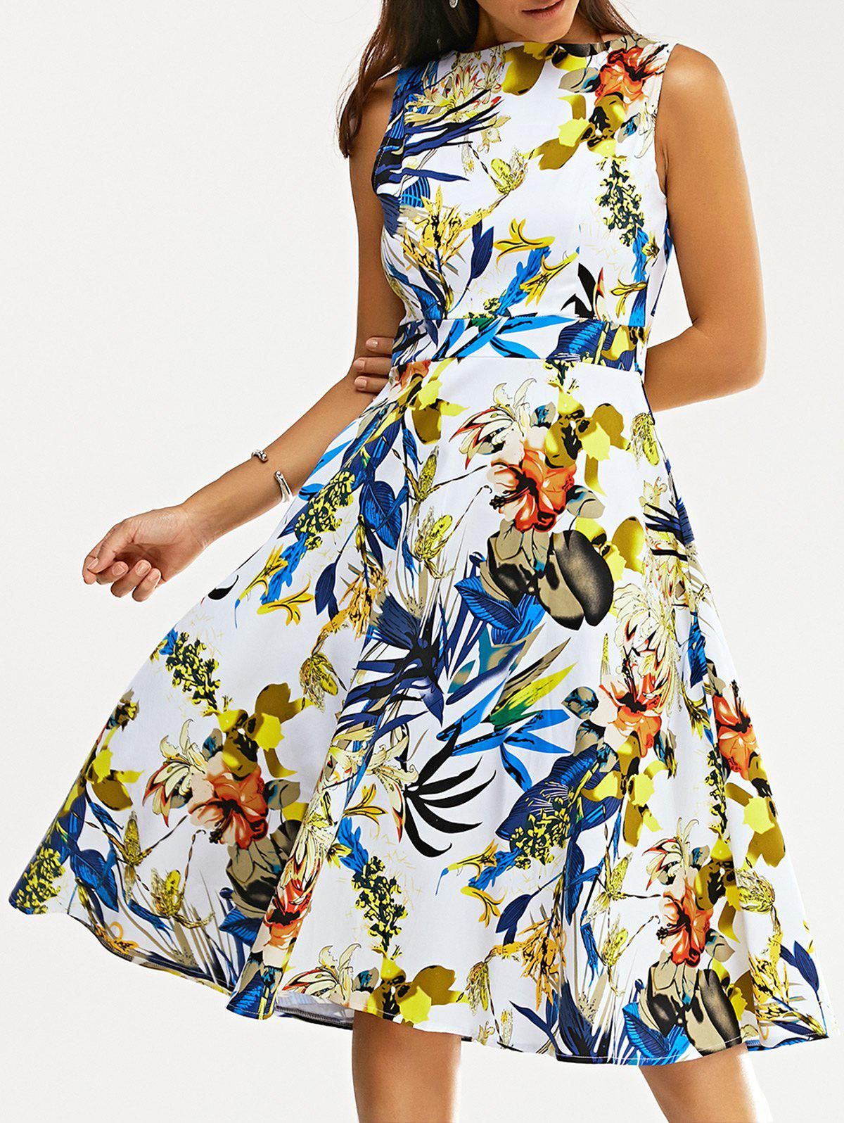 Retro Colorful Flower Print Sleeveless Skater Dress - COLORMIX 2XL