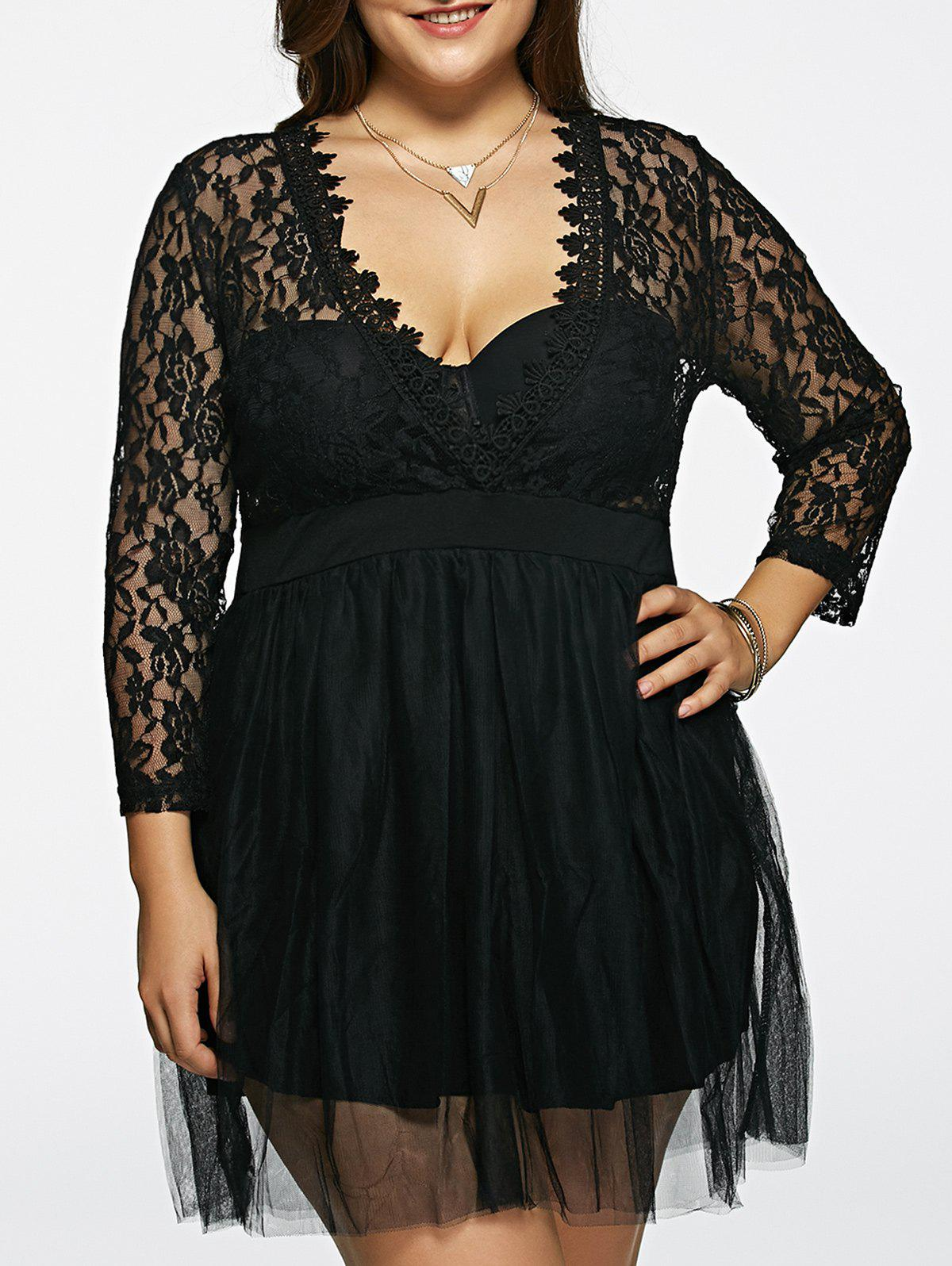 Plus Size Lace Splicing See-Through Dress - BLACK 3XL
