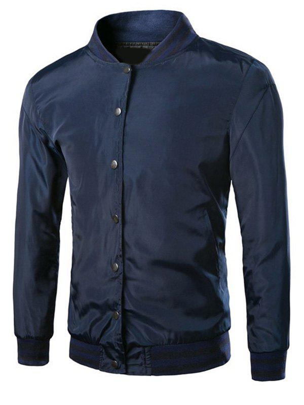 Brief Style Ribbed Hem Long Sleeves Baseball Jacket For Men - CADETBLUE 4XL