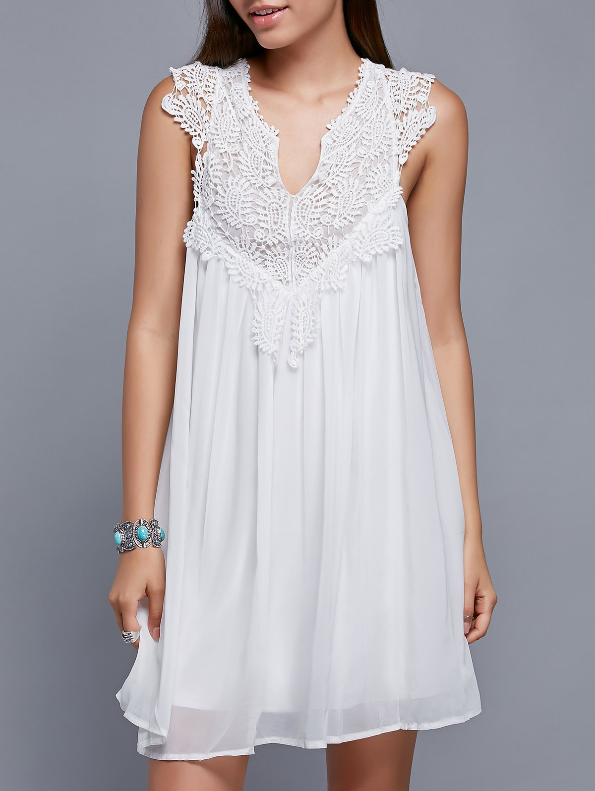 V Neck Sleeveless Cut Out Chiffon Dress - WHITE M