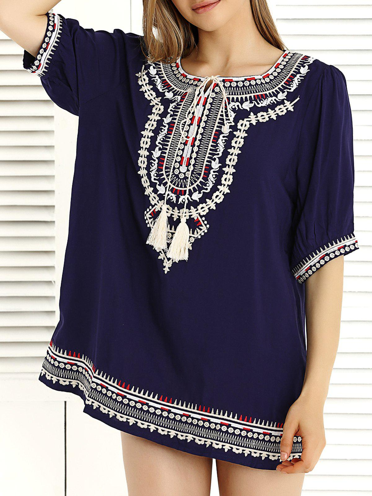 Ethnic Embroidered Tassel Dress For Women - ONE SIZE PURPLISH BLUE
