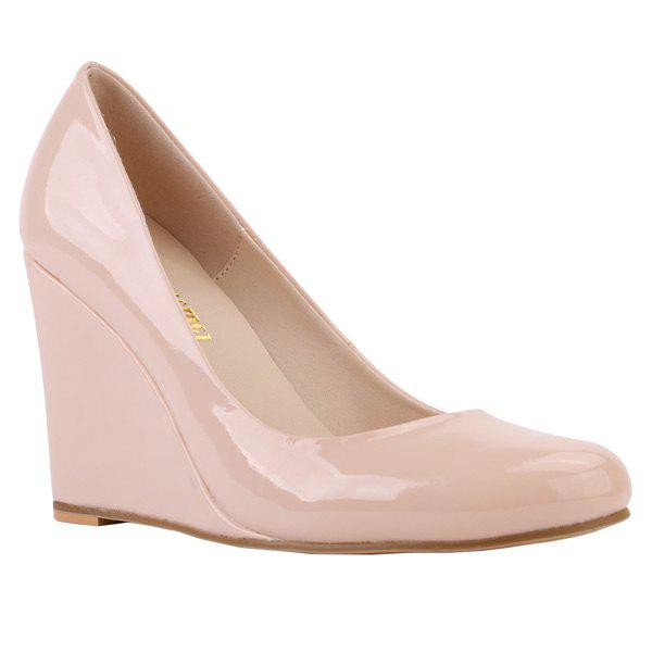 Trendy Round Toe and Patent Leather Design Women's Wedge Shoes - APRICOT 41