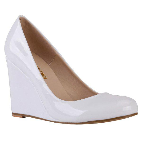 Round Toe Trendy en cuir verni et design Femmes  's Shoes Wedge - Blanc 42