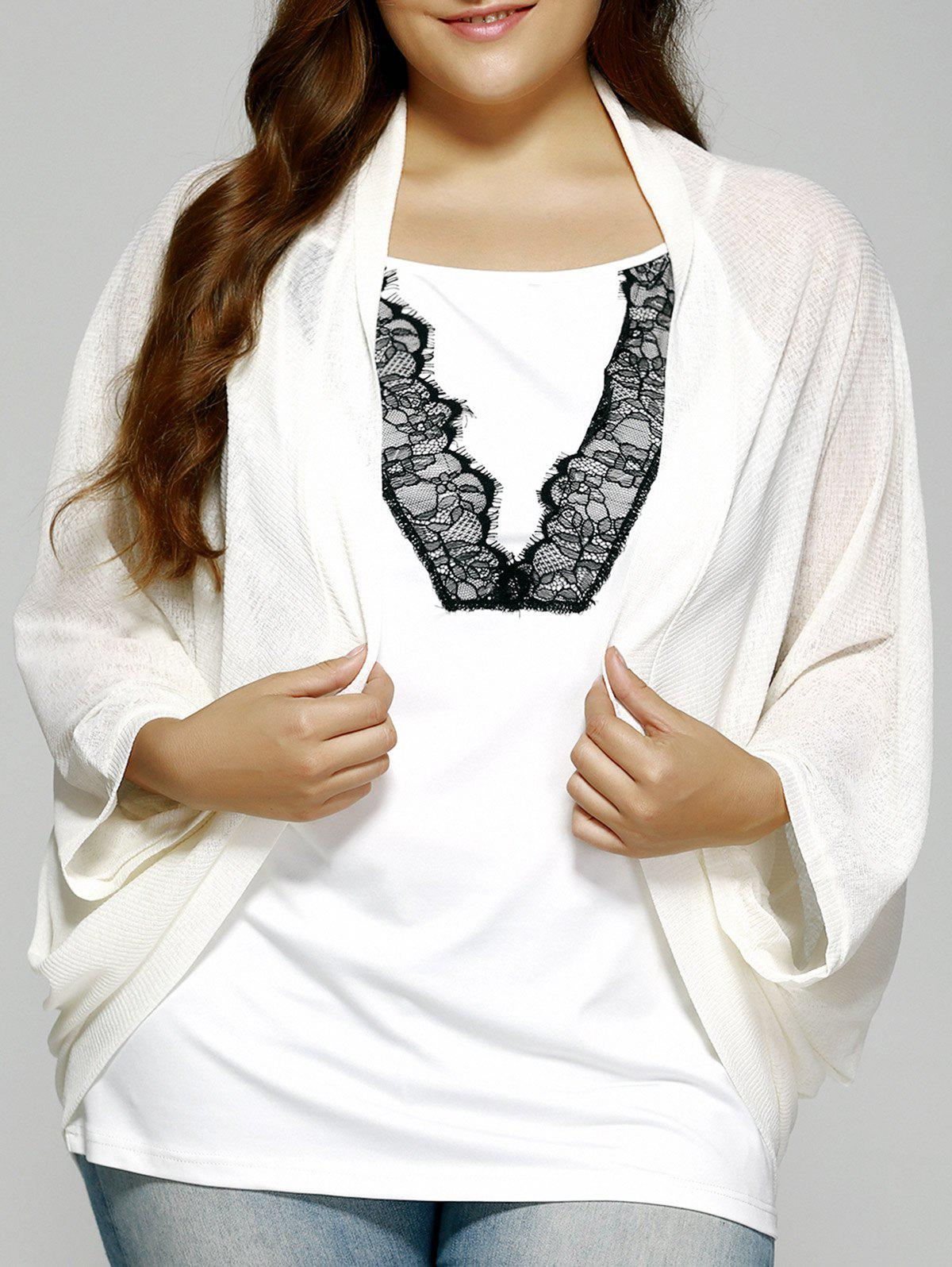 Plus Size Dolman Sleeve Loose Cardigan - OFF WHITE 5XL