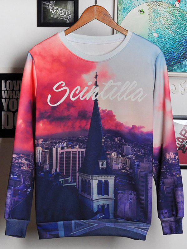 Round Neck Long Sleeve 3D Bell Tower and Letters Print Men's Sweatshirt - COLORMIX M