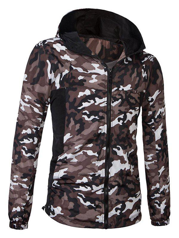 Fashionable Camo Bomber Hooded Zipper Flying Long Sleeve Jacket For Men wave bomber